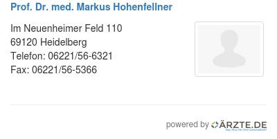 Prof dr med markus hohenfellner