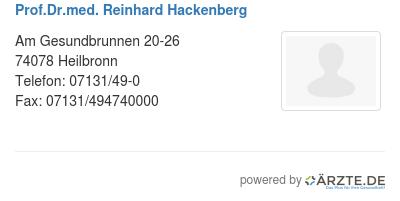 Prof dr med reinhard hackenberg
