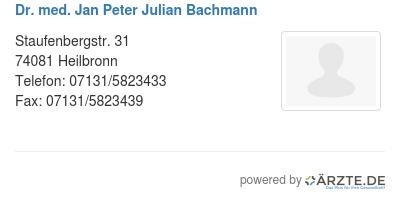Dr med jan peter julian bachmann
