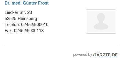 Dr med guenter frost