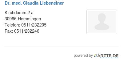 Dr med claudia liebeneiner