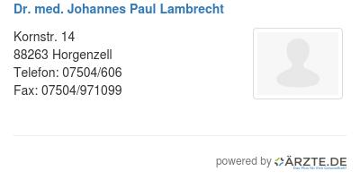 Dr med johannes paul lambrecht