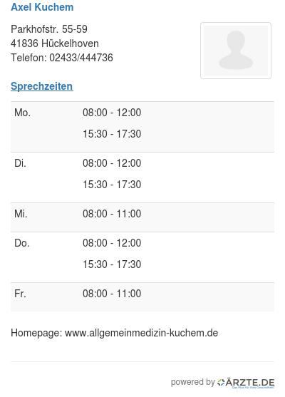 Axel Kuchem In 41836 Huckelhoven Fa Fur Allgemeinmedizin Aerzte