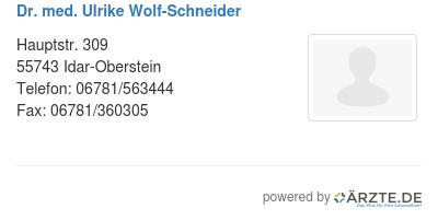 Dr med ulrike wolf schneider