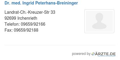Dr med ingrid peterhans breininger