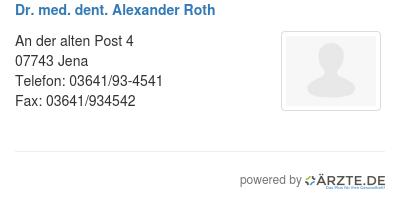 Dr med dent alexander roth