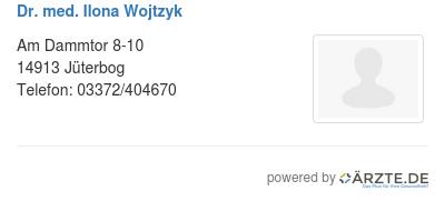 Dr med ilona wojtzyk 580185