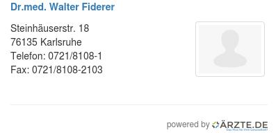 Dr med walter fiderer