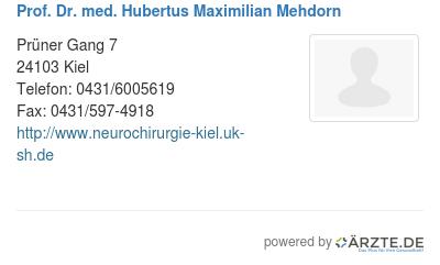 Prof dr med hubertus maximilian mehdorn