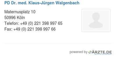 Pd dr med klaus juergen walgenbach