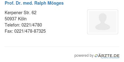 Prof dr med ralph moesges