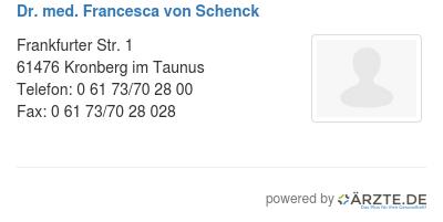 Dr med francesca von schenck