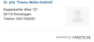 Dr phil thiemo mueller kalthoff