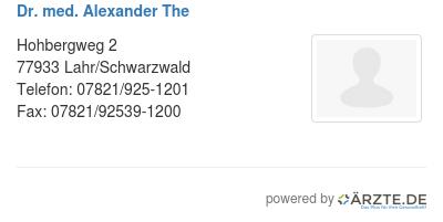 Dr med alexander the