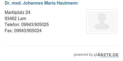 Dr med johannes maria hautmann