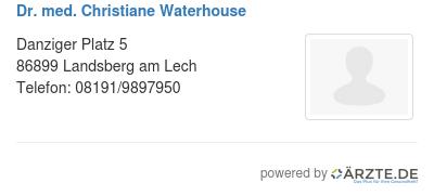 Dr med christiane waterhouse