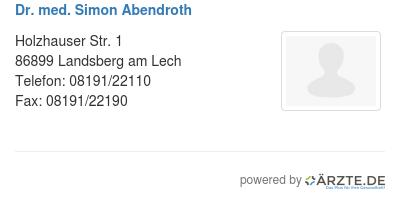 Dr med simon abendroth