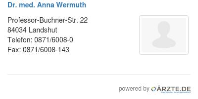 Dr med anna wermuth