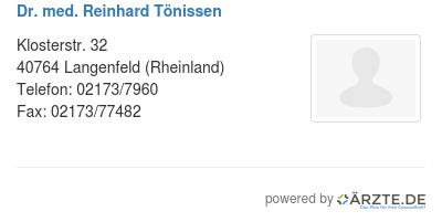 Dr med reinhard toenissen