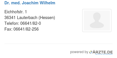Dr med joachim wilhelm