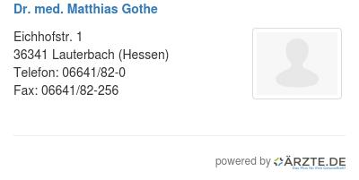 Dr med matthias gothe