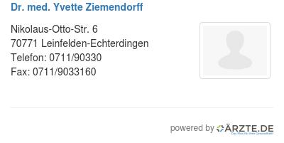 Dr med yvette ziemendorff