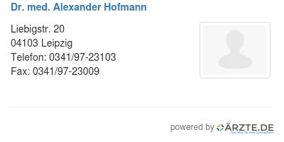 Dr med alexander hofmann