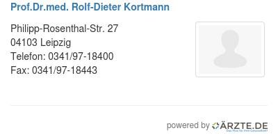 Prof dr med rolf dieter kortmann