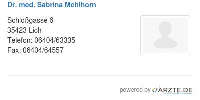 Dr med sabrina mehlhorn