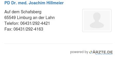 Pd dr med joachim hillmeier