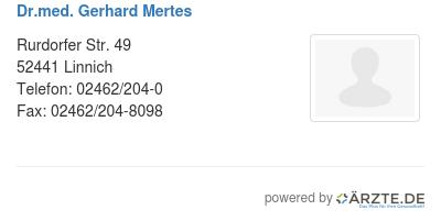 Dr med gerhard mertes