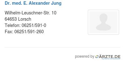 Dr med e alexander jung