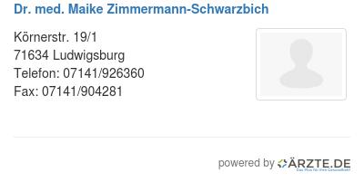 Dr med maike zimmermann schwarzbich
