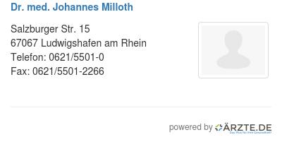 Dr med johannes milloth