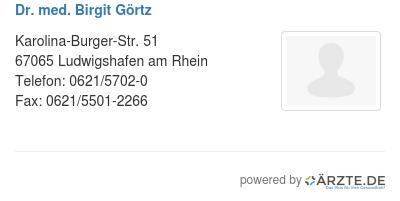Dr med birgit goertz