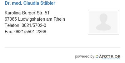 Dr med claudia staebler
