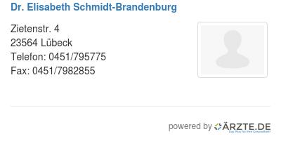 Dr elisabeth schmidt brandenburg