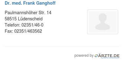 Dr med frank ganghoff