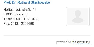 Prof dr ruthard stachowske