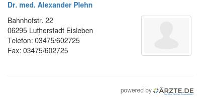 Dr med alexander plehn 580975