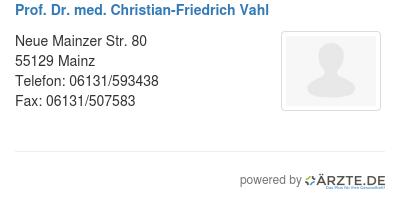 Prof dr med christian friedrich vahl 598864