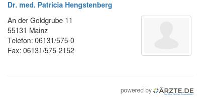 Dr med patricia hengstenberg