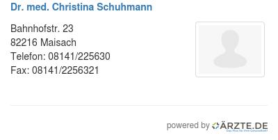 Dr med christina schuhmann