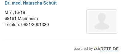 Dr med natascha schuett
