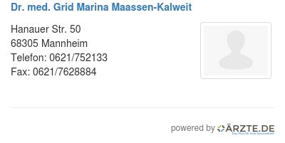 Dr med grid marina maassen kalweit