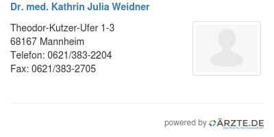 Dr med kathrin julia weidner