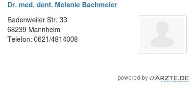 Dr med dent melanie bachmeier