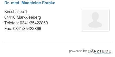 Dr med madeleine franke 580132