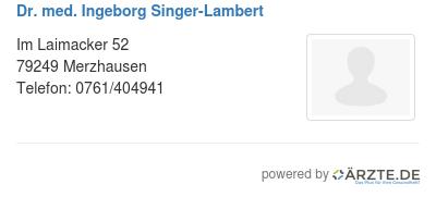 Dr med ingeborg singer lambert