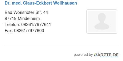 Dr med claus eckbert wellhausen